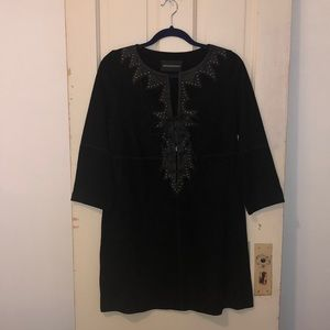 NWT Studded Suede & Leather 3/4 Sleeved Shift